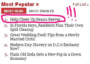 Claire's article is #1!  Buuut it's on Keanu.
